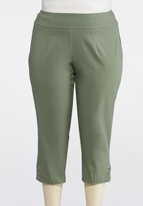 Plus Size Grommet Hem Cropped Pants