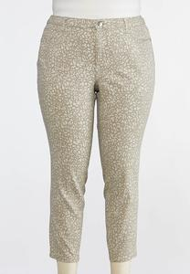 Plus Size Neutral Animal Print Jeans