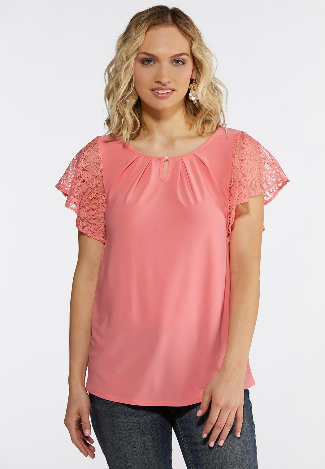 Plus Size Lacy Flutter Sleeve Top