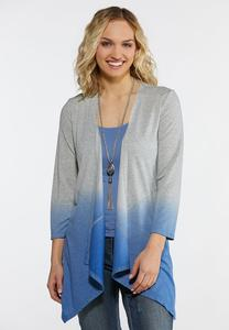 Plus Size Dip Dye Waterfall Cardigan