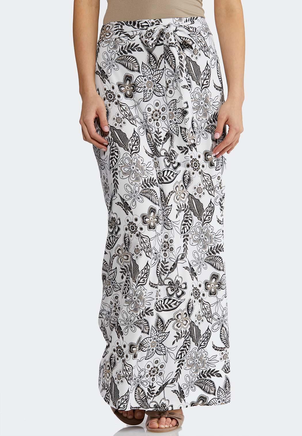 Plus Size Floral Tie Waist Maxi Skirt