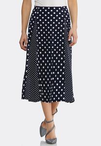 Plus Size Mixed Dot Midi Skirt