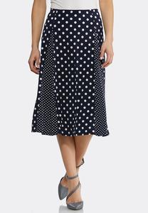 Mixed Dot Midi Skirt