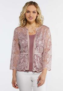 Plus Size Pink Lace Cardigan