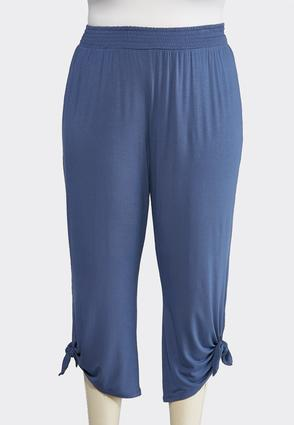Plus Size Tie Hem Cropped Pants