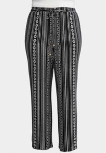 Plus Size Artisan Stripe Palazzo Pants