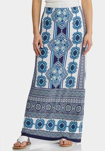 Blue Medallion Maxi Skirt
