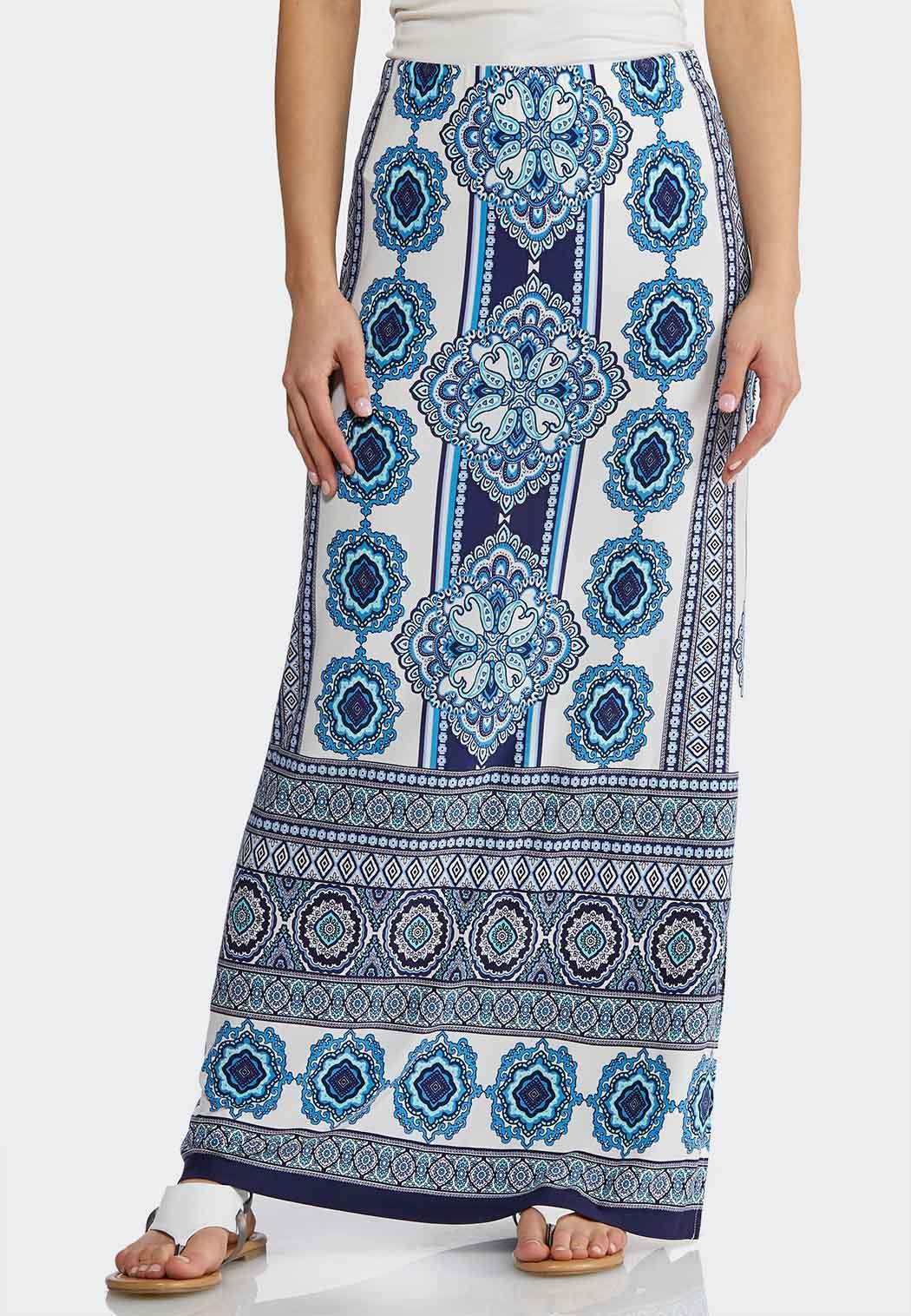 6a10cd4e8055d Plus Size Blue Medallion Maxi Skirt Maxi Cato Fashions