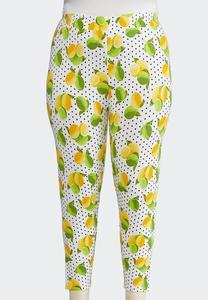 Plus Size Lemon Lime Cropped Leggings