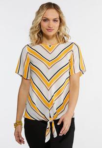 Gold Mitered Stripe Top