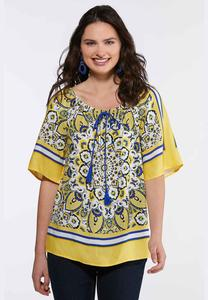 Plus Size Medallion Tasseled Poet Top