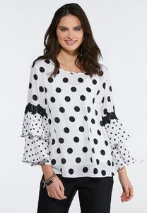 Plus Size Black White Polka Dot Ruffle Top