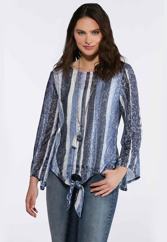 Patterned Bell Sleeve Burnout Top
