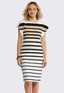 Neutral Stripe Midi Dress