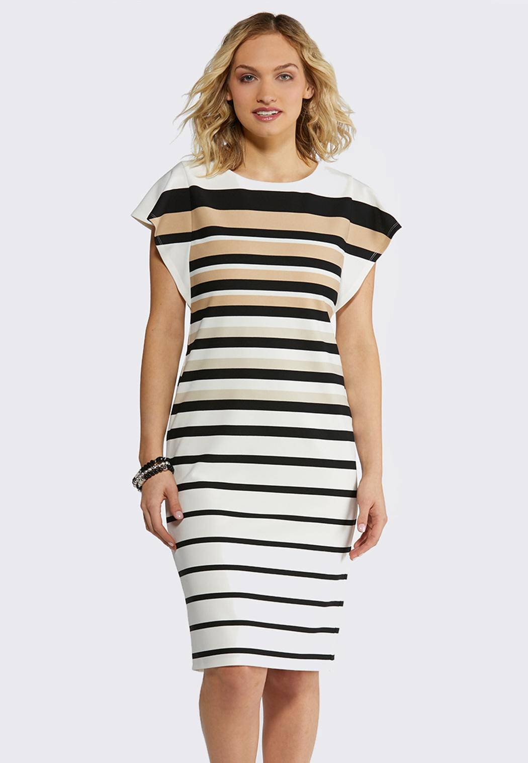 Plus Size Neutral Stripe Midi Dress Midi Cato Fashions