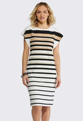 Plus Size Neutral Stripe Midi Dress
