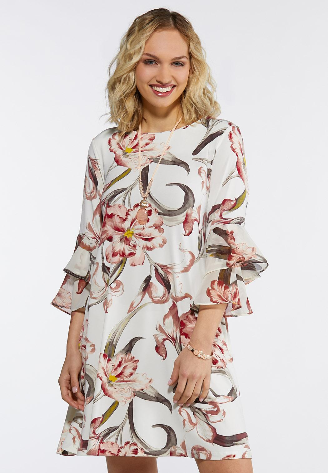 Plus Size Ivory Blossom Swing Dress A-line & Swing Cato Fashions