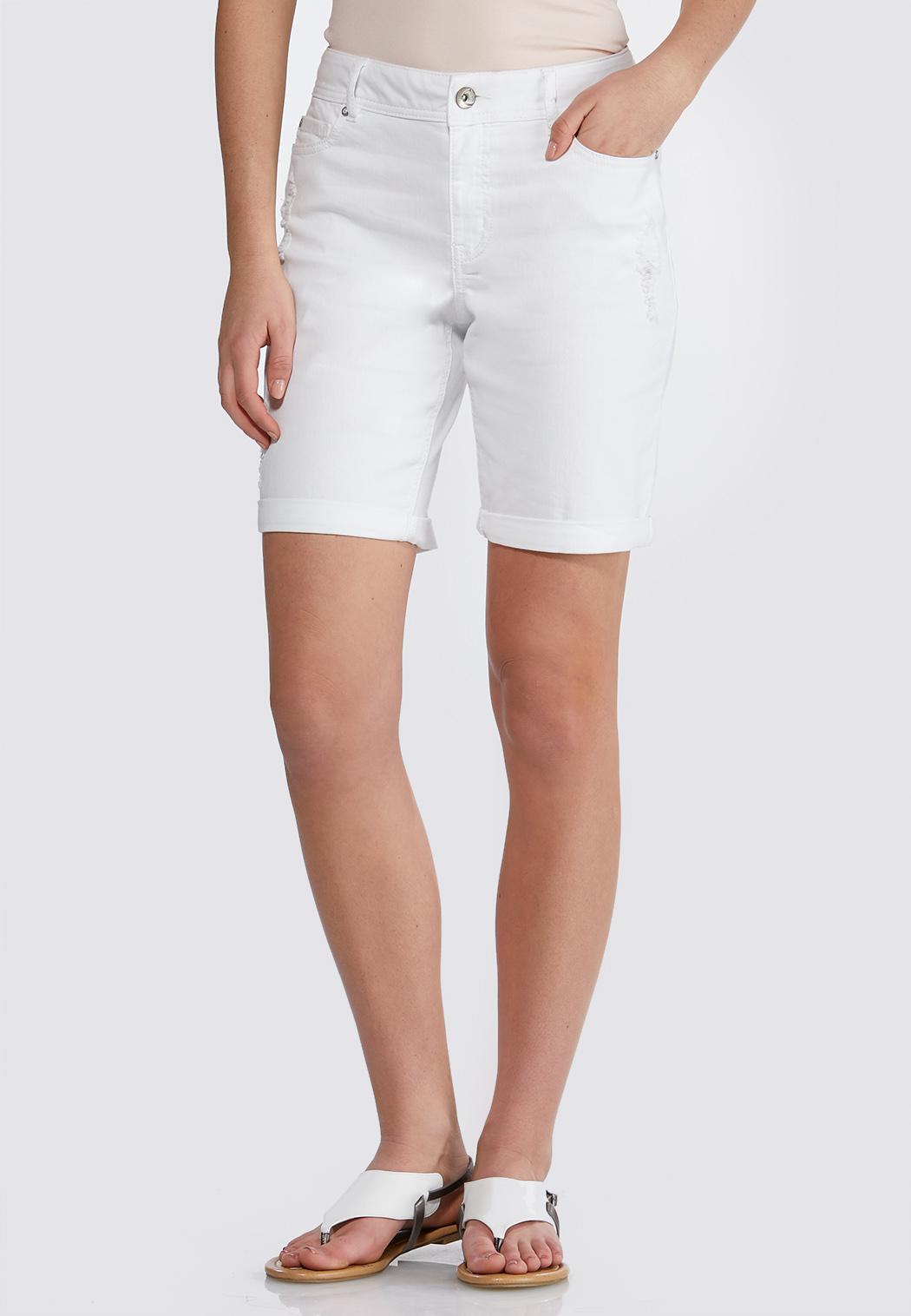 Distressed Bermuda Denim Shorts