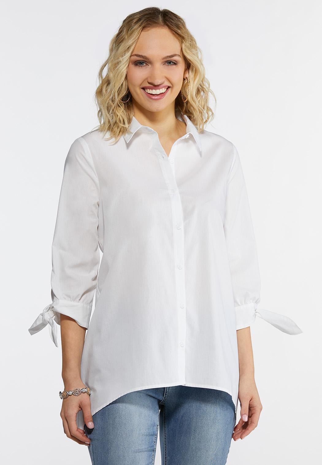 59e1f3722f1b3 Plus Size White Tie Sleeve Tunic Shirts   Blouses Cato Fashions