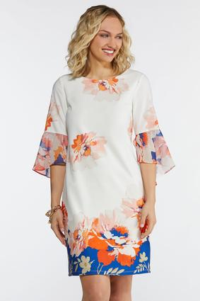 Plus Size Blossom Chiffon Sleeve Dress
