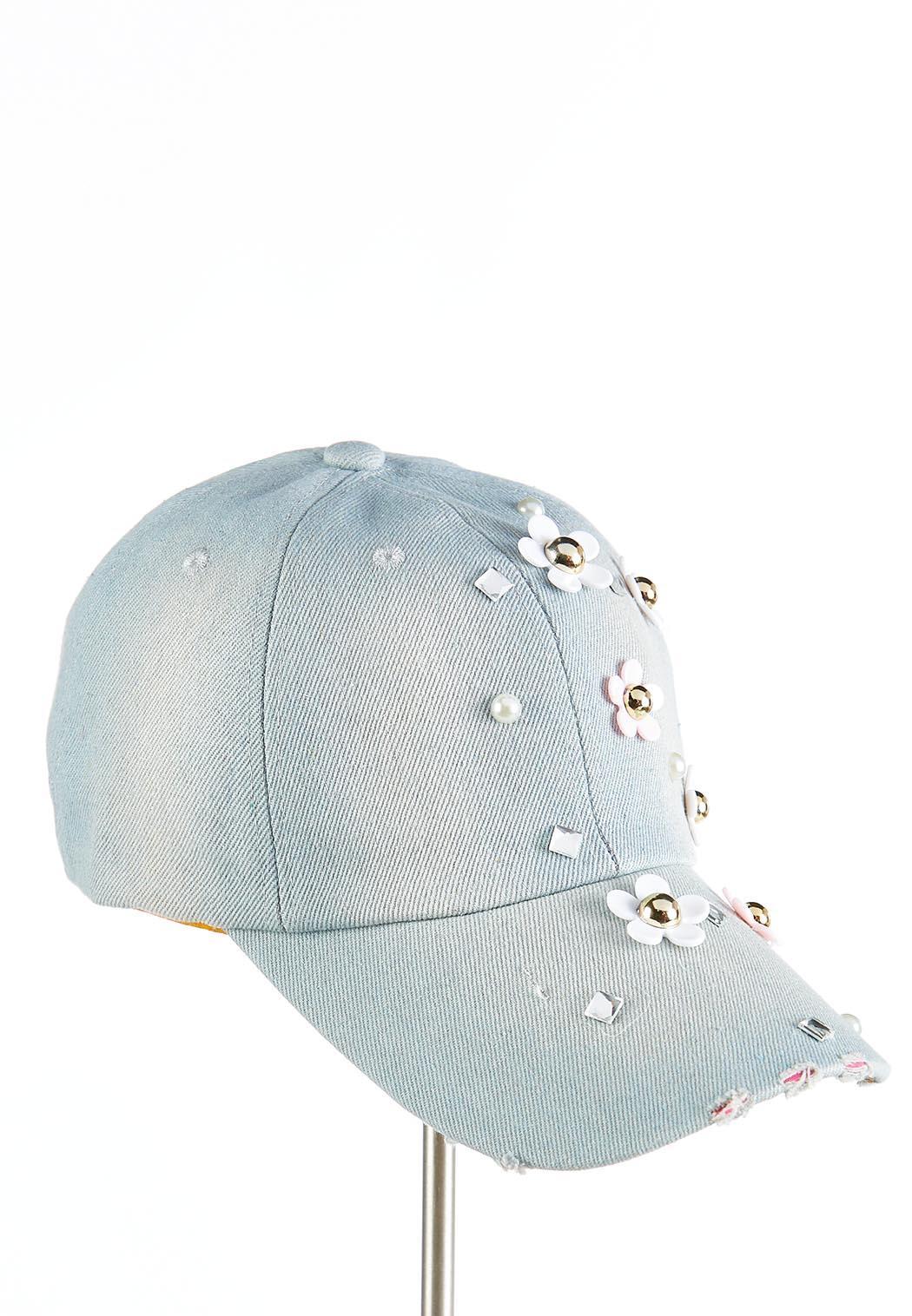 Flower Pearl Embellished Denim Cap