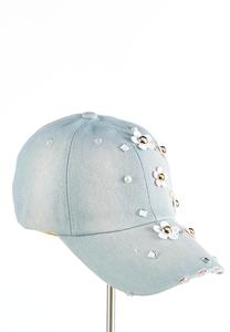 Flower Pearl Embellished Denim Cap