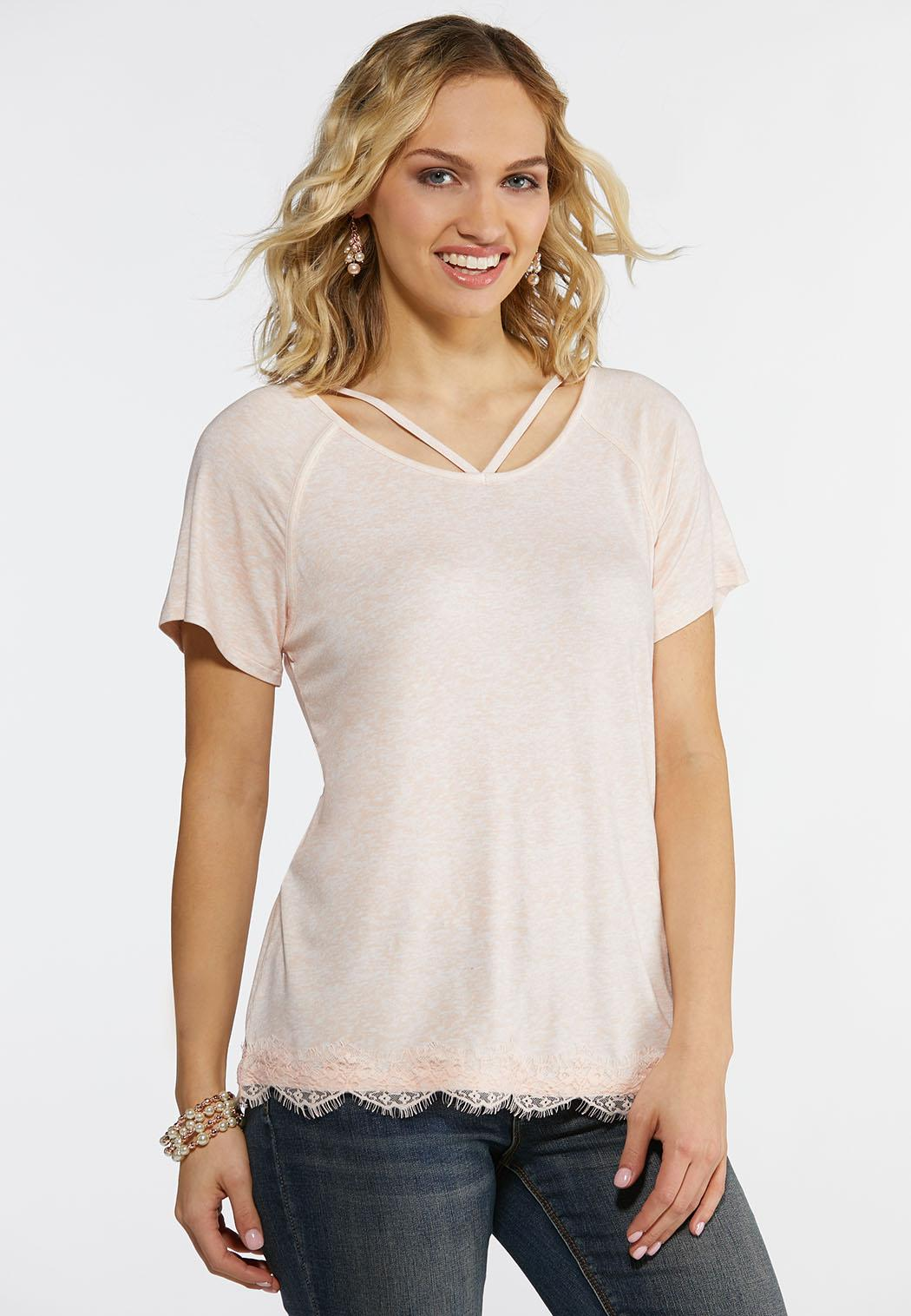 Plus Size Scalloped Lace Trim Tee