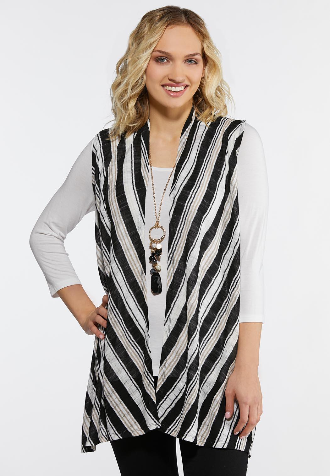 Plus Size Neutral Stripe Vest