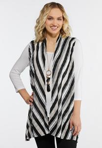 Plus Size Neutral Stripe Vest