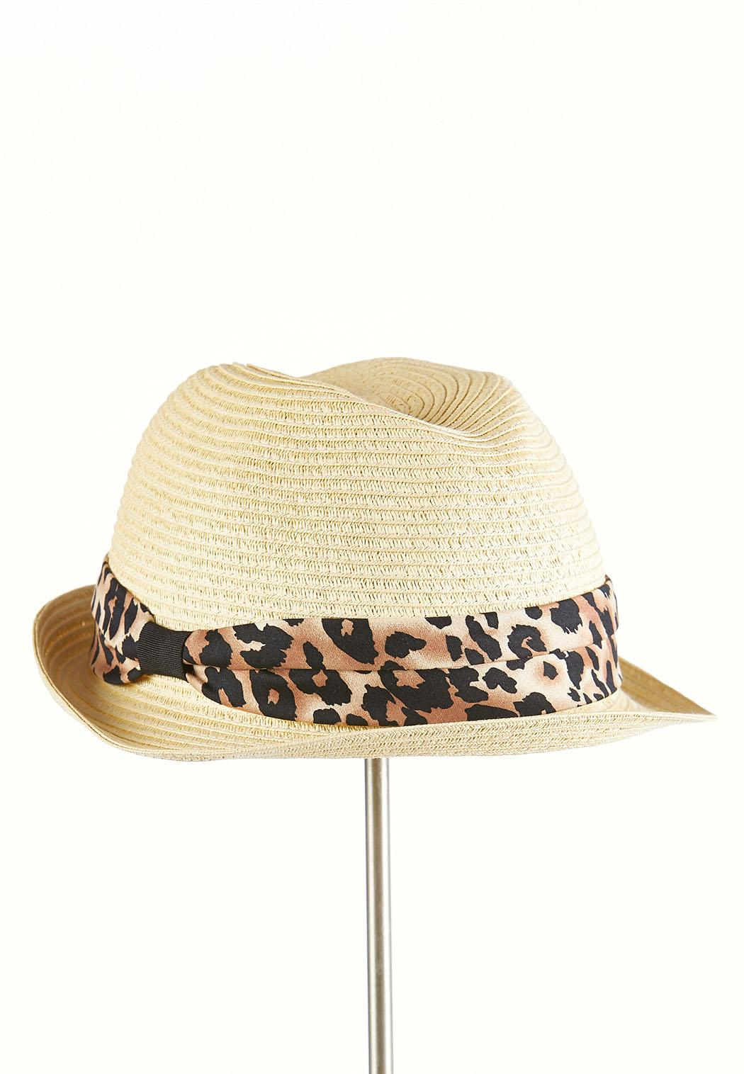 Leopard Band Straw Fedora