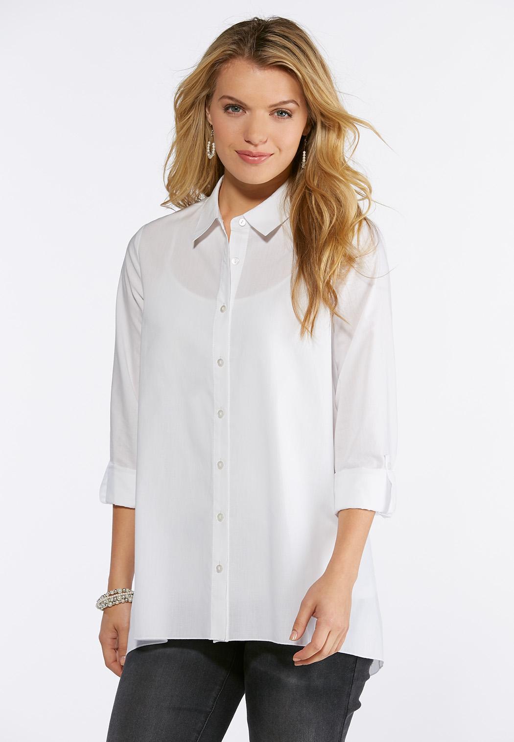 5e8efe0e5890 White Button Down Tunic Top Shirts   Blouses Cato Fashions