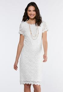 Plus Size White Lace Midi Dress