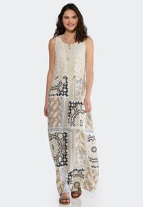 Plus Size Lace And Print Maxi Dress