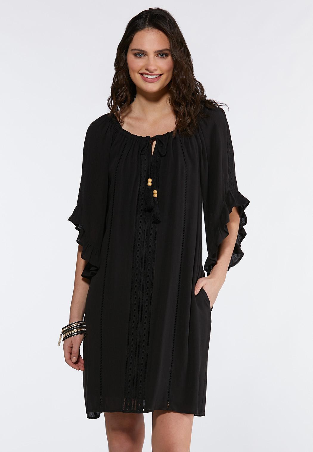 Plus Size Crepe Ruffled Peasant Dress
