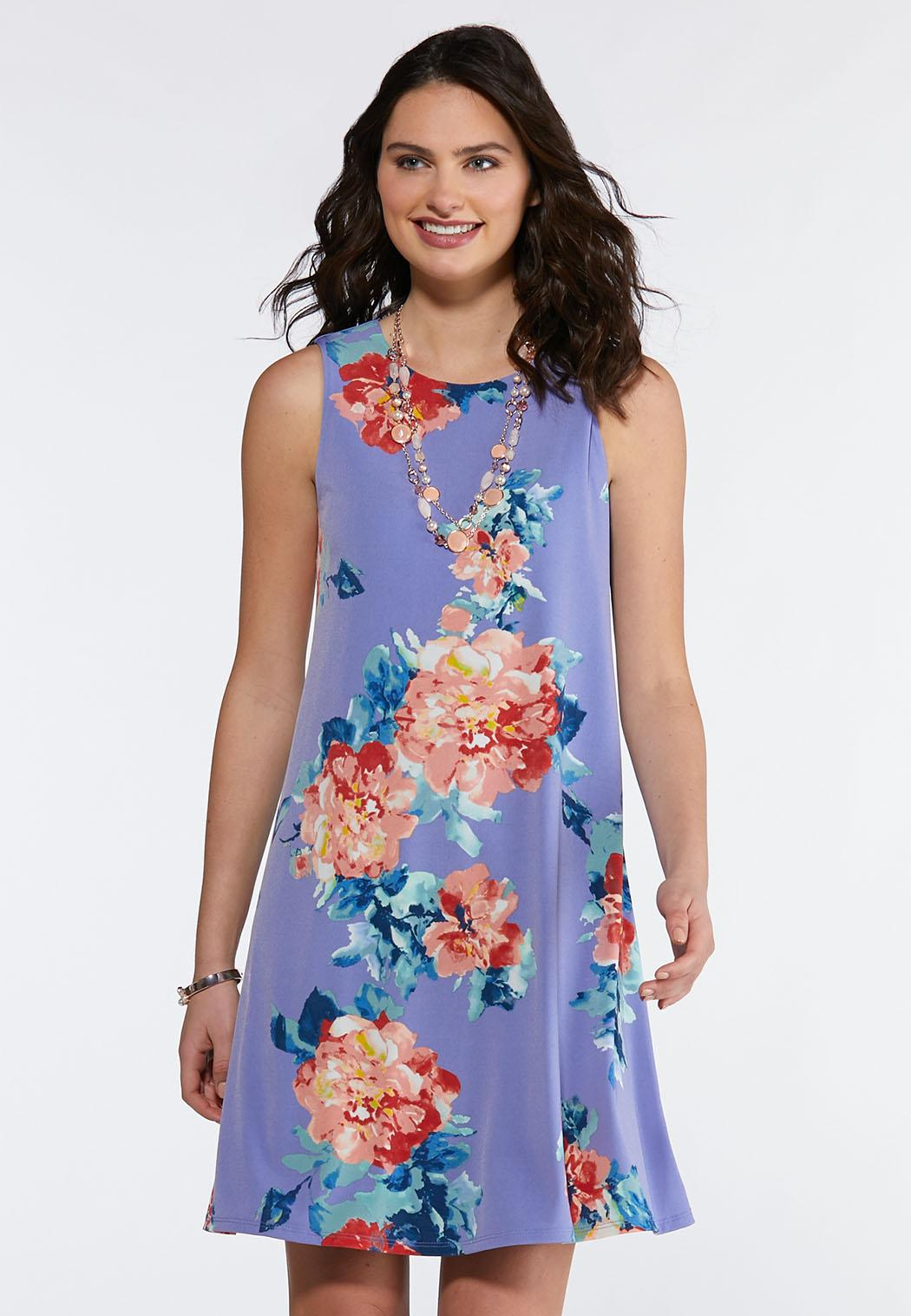 fc3c51976f232 Blue Floral Swing Dress A-line   Swing Cato Fashions