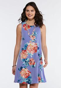 Plus Size Blue Floral Swing Dress