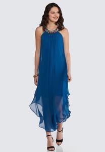 Plus Petite Embellished Flyaway Dress
