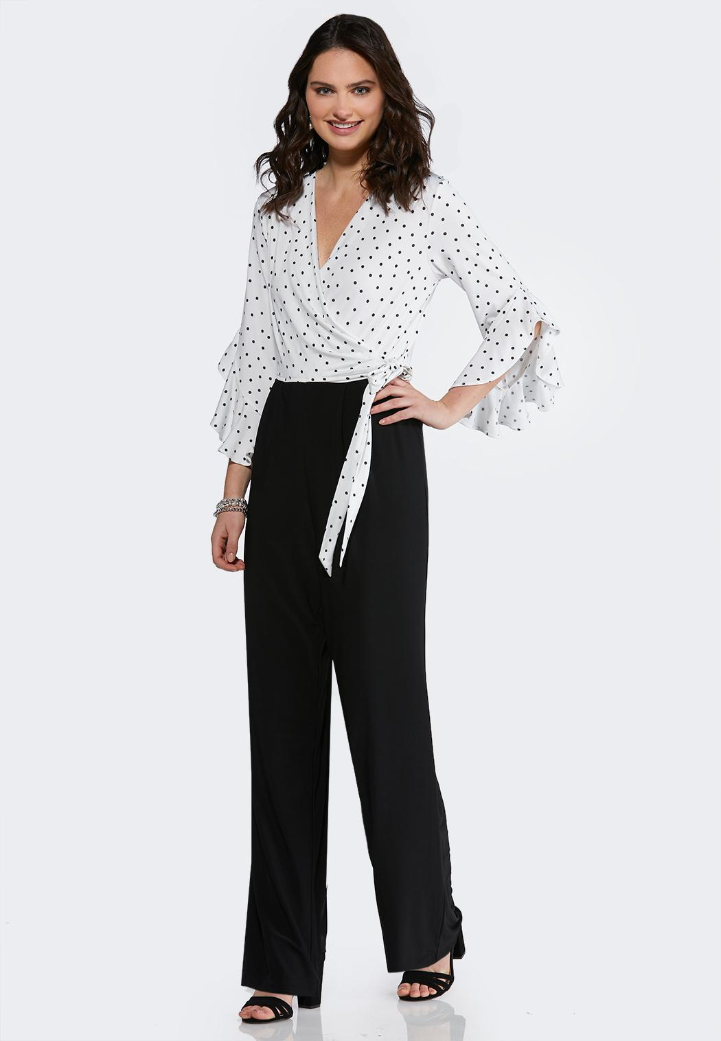 Petite Dots And Ties Jumpsuit