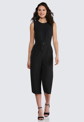 Cropped Belted Jumpsuit