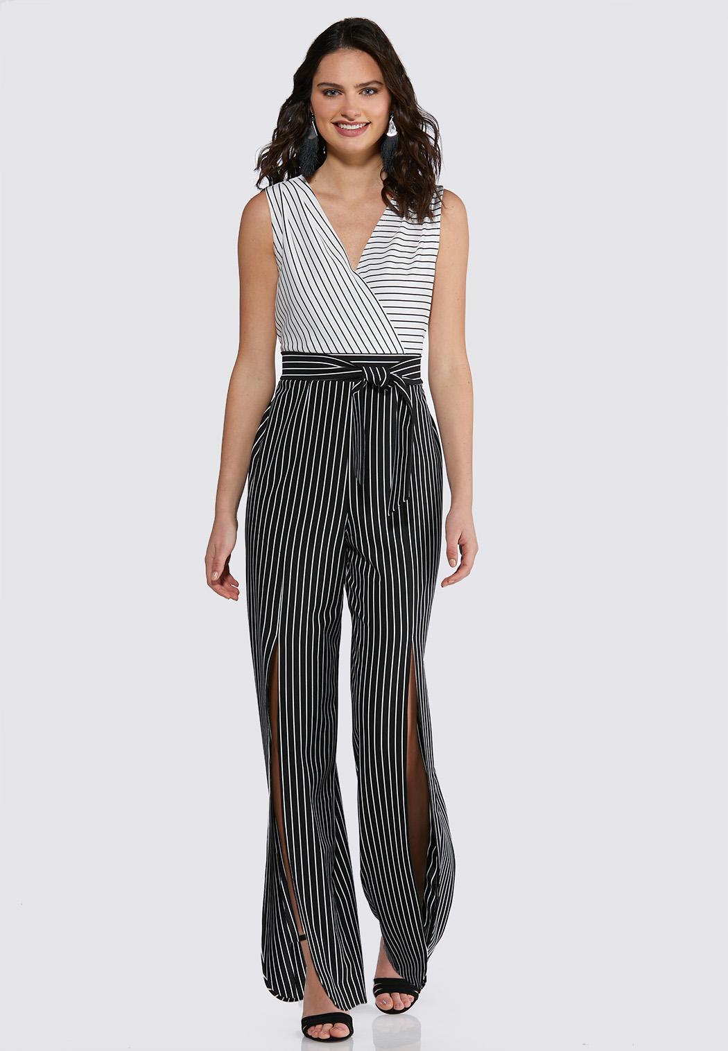 Petite Black And White Slit Pant Jumpsuit