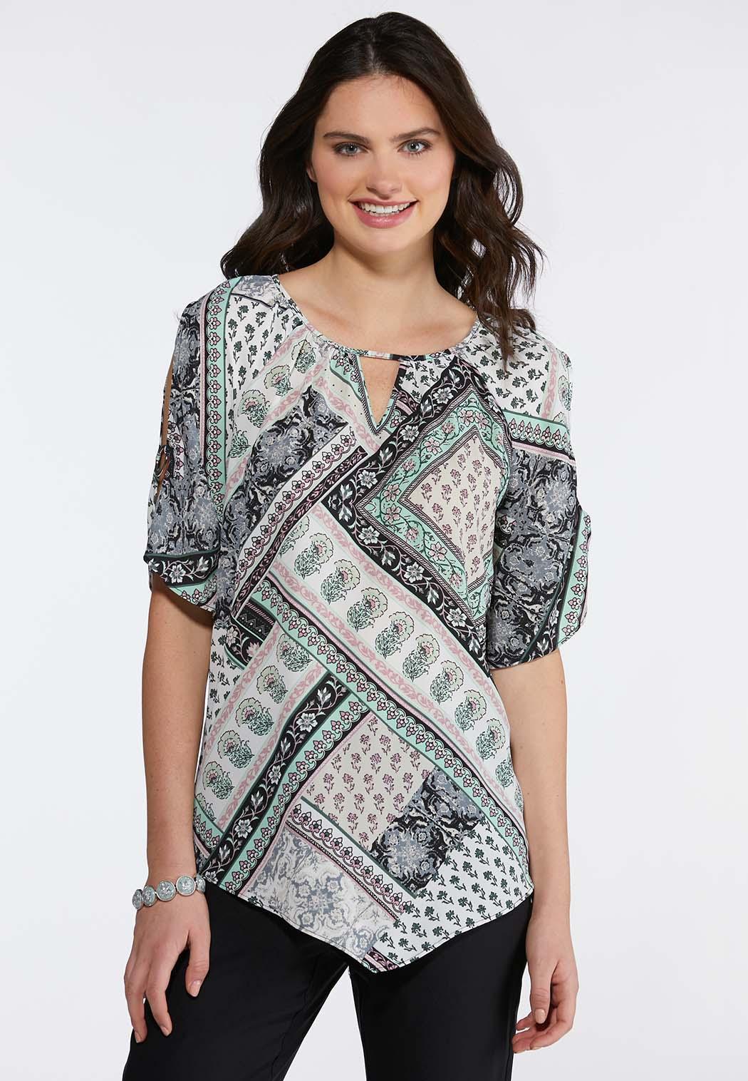 Plus Size Hardware Slit Sleeve Dressy Top Shirts Blouses Cato Fashions