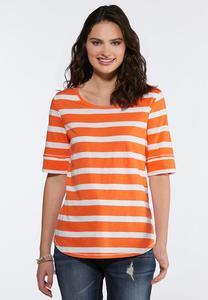 a30de76d31571 Plus Size Orange Stripe Top