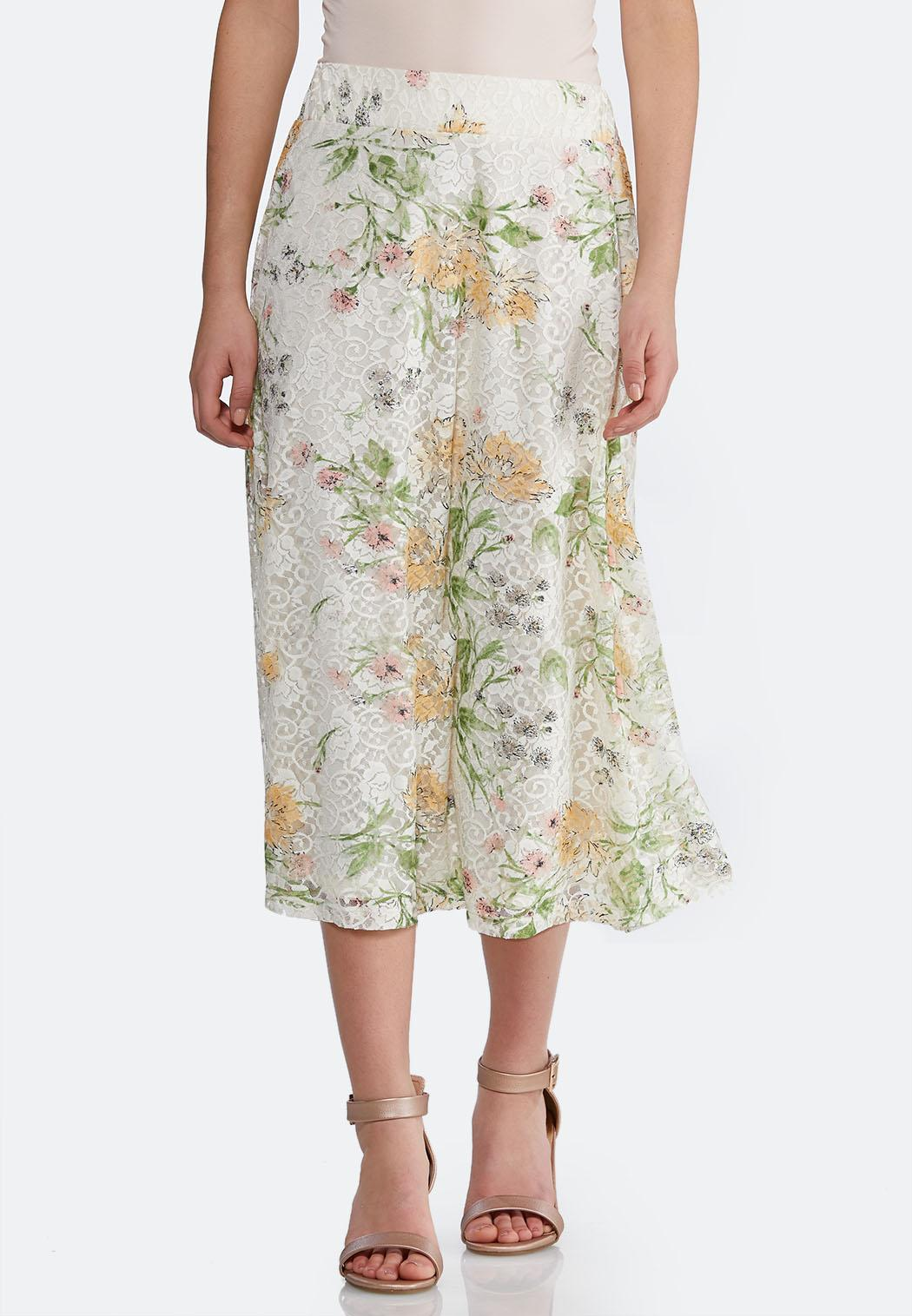 Plus Size Floral Lace Skirt