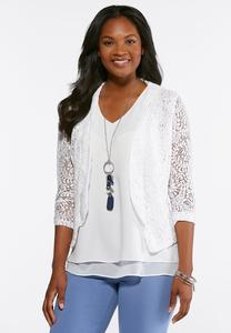 Plus Size Lace Ruched Sleeve Blazer