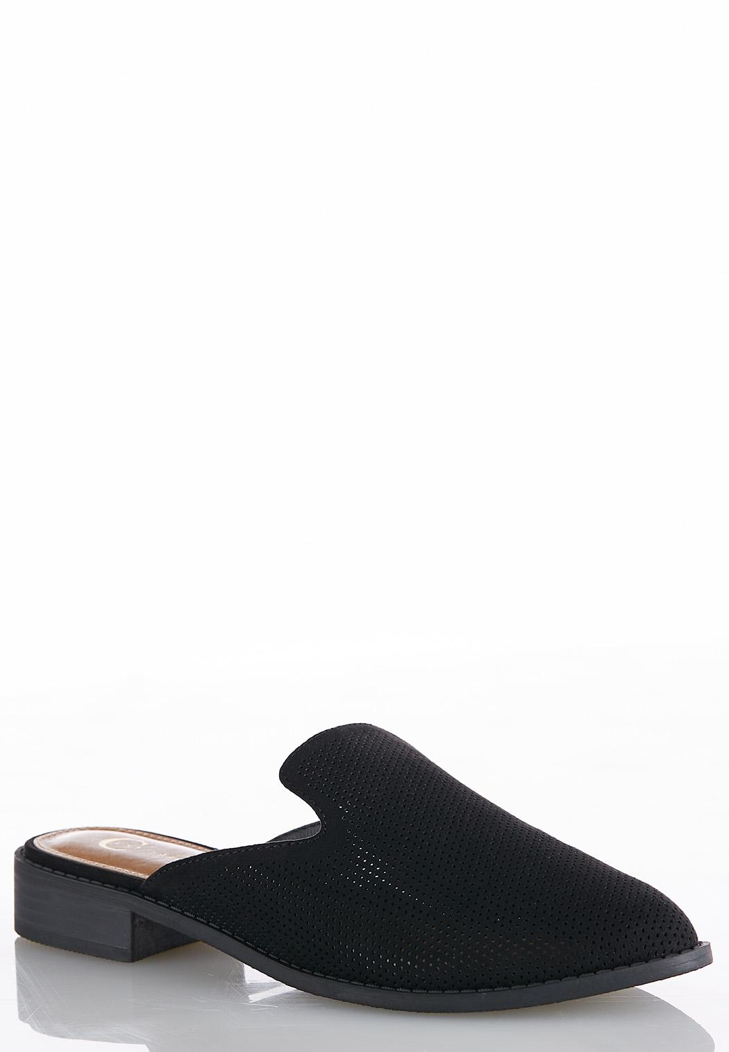 Faux Suede Perforated Slip-On Mules