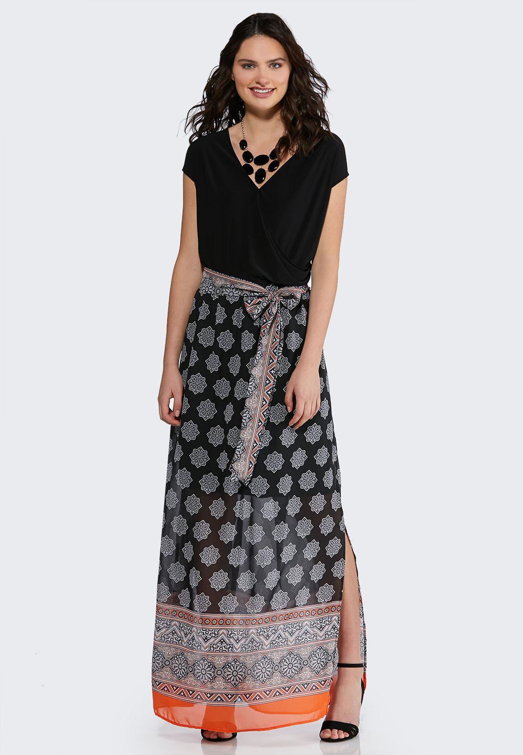 Plus Size Medallion Chiffon Maxi Dress