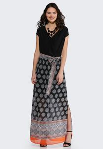 75159c8413 Plus Size Medallion Chiffon Maxi Dress