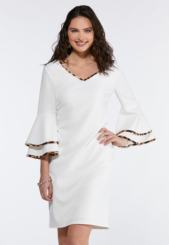fc1dde3da65 Contrast Flutter Sleeve Sheath Dress Junior Misses Cato Fashions