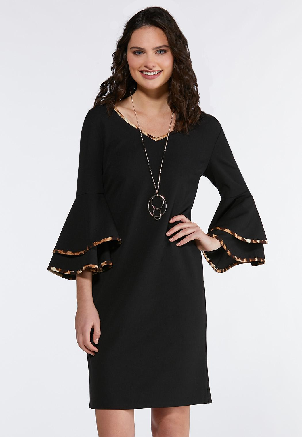 c4f73e3c3a032c Plus Size Contrast Flutter Sleeve Sheath Dress Plus Sizes Cato ...