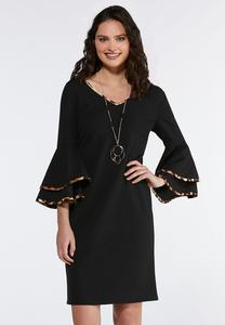 Plus Size Contrast Flutter Sleeve Sheath Dress